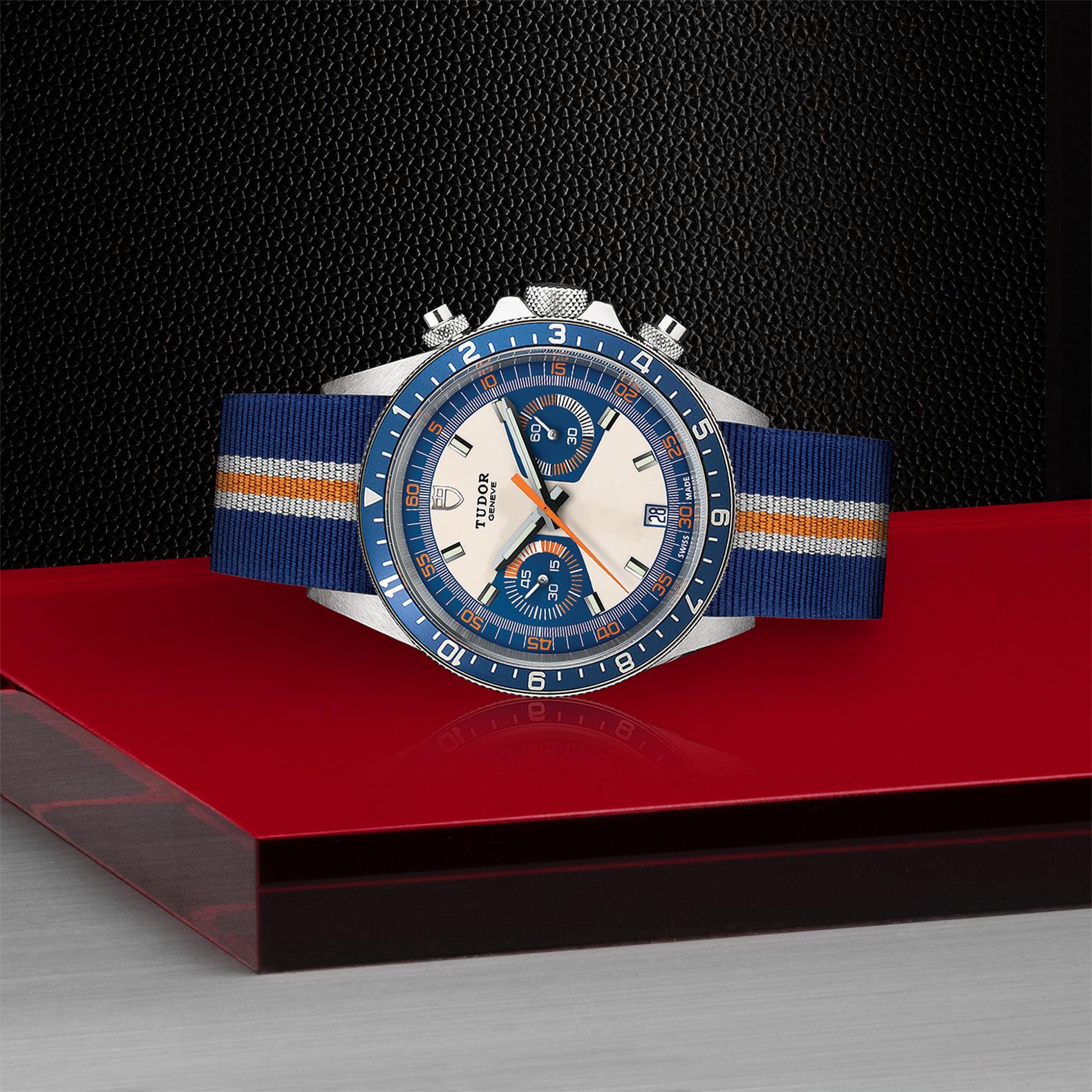 TUDOR Heritage Chrono Blue M70330B 0003 Layingdown