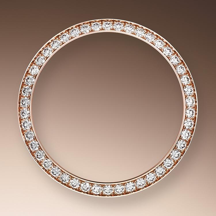 diamond set bezel oystersteel  everose gold and diamonds 50596