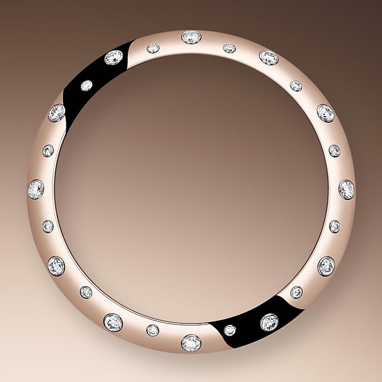 diamond set bezel oystersteel  everose gold and diamonds 50730