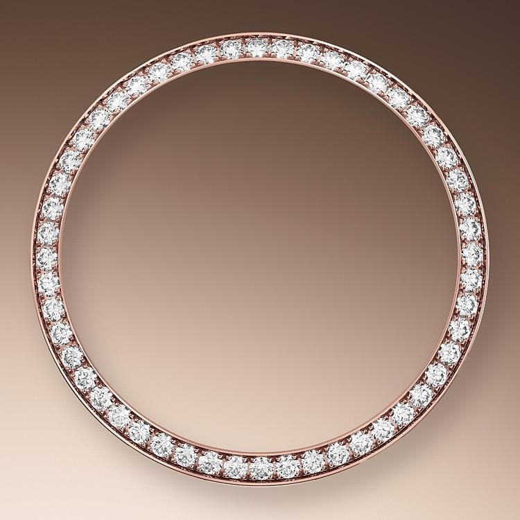 diamond set bezel oystersteel  everose gold and diamonds 50802
