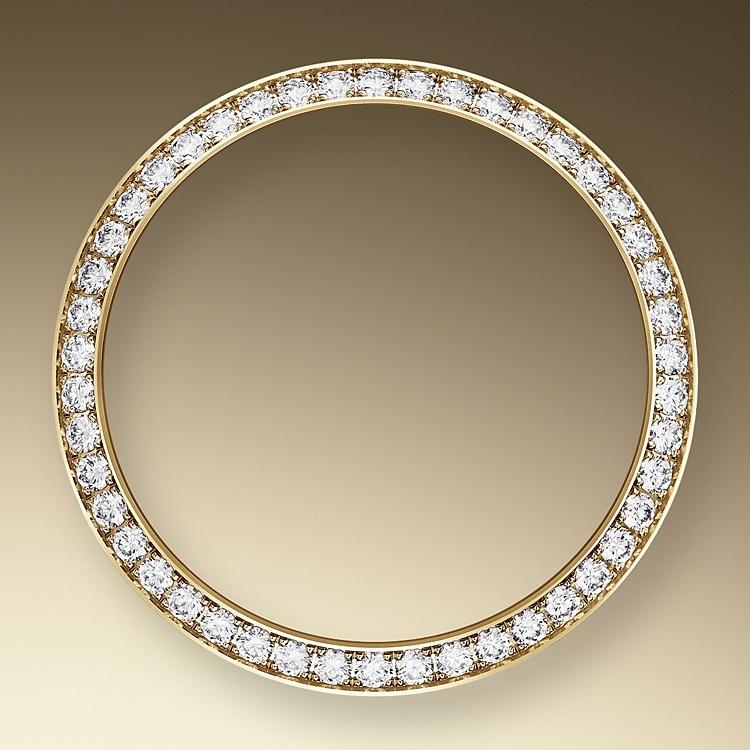 diamond set bezel oystersteel  yellow gold and diamonds 50732