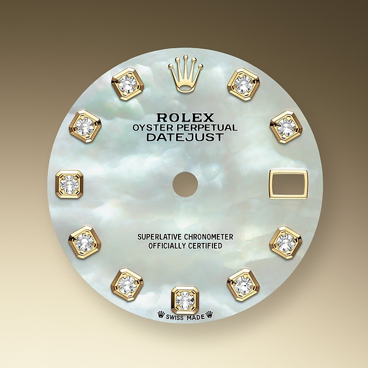 mother of pearl dial oystersteel  yellow gold and diamonds 50759 g 28