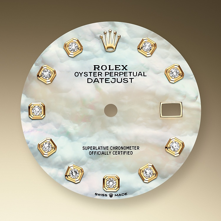 mother of pearl dial oystersteel  yellow gold and diamonds 51187 g 36