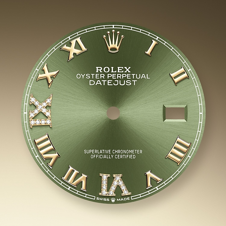 olive green dial oystersteel  yellow gold and diamonds 51188 g 36