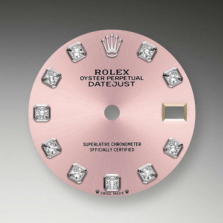 pink dial oystersteel  white gold and diamonds 50785 g 28